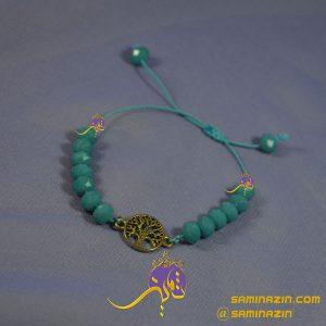 دستبند کریستال آبی و پلاک درخت